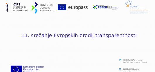 Logotipi evropskih orodij transparentnosti na belem ozadju (CPI, SOK, Europass, Euroguidance, Refernet, EQAVET, Erasmus+, MDDSZ, MIZŠ)